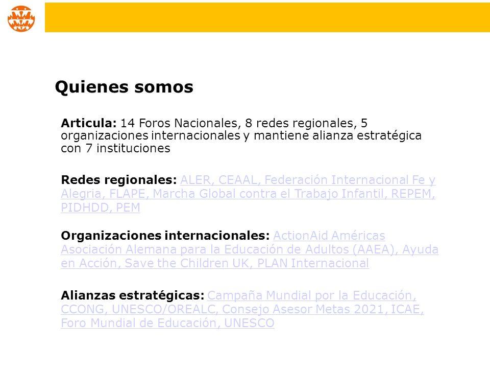 Articula: 14 Foros Nacionales, 8 redes regionales, 5 organizaciones internacionales y mantiene alianza estratégica con 7 instituciones Redes regionale