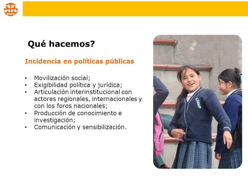 Incidencia en políticas públicas Movilización social; Exigibilidad política y jurídica; Articulación interinstitucional con actores regionales, intern