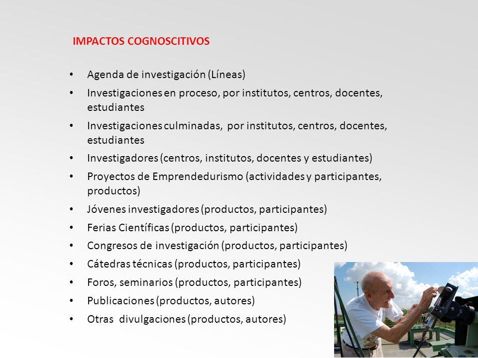 Agenda de investigación (Líneas) Investigaciones en proceso, por institutos, centros, docentes, estudiantes Investigaciones culminadas, por institutos