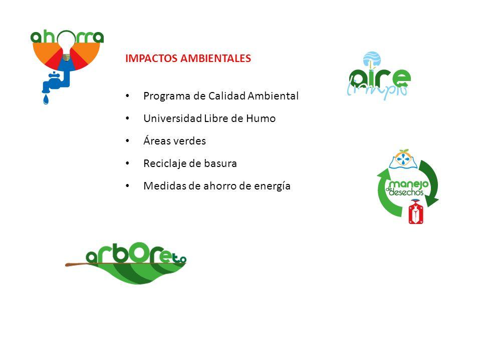 IMPACTOS AMBIENTALES Programa de Calidad Ambiental Universidad Libre de Humo Áreas verdes Reciclaje de basura Medidas de ahorro de energía