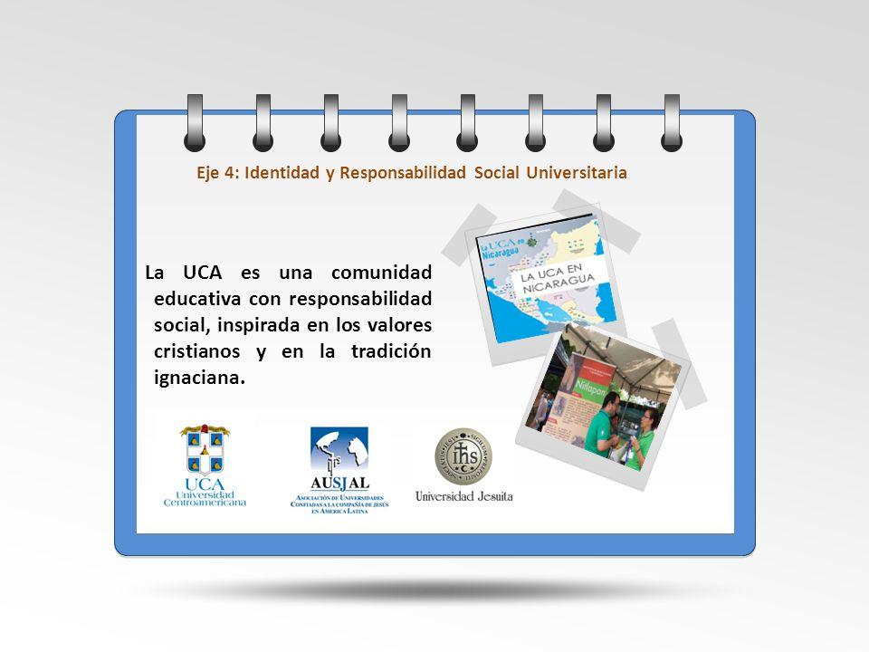 Eje 4: Identidad y Responsabilidad Social Universitaria La UCA es una comunidad educativa con responsabilidad social, inspirada en los valores cristia