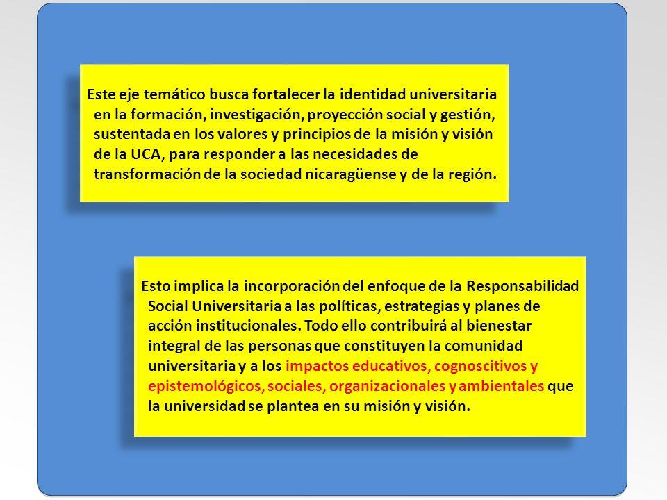 Este eje temático busca fortalecer la identidad universitaria en la formación, investigación, proyección social y gestión, sustentada en los valores y