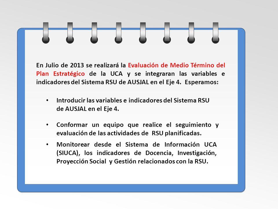 En Julio de 2013 se realizará la Evaluación de Medio Término del Plan Estratégico de la UCA y se integraran las variables e indicadores del Sistema RSU de AUSJAL en el Eje 4.