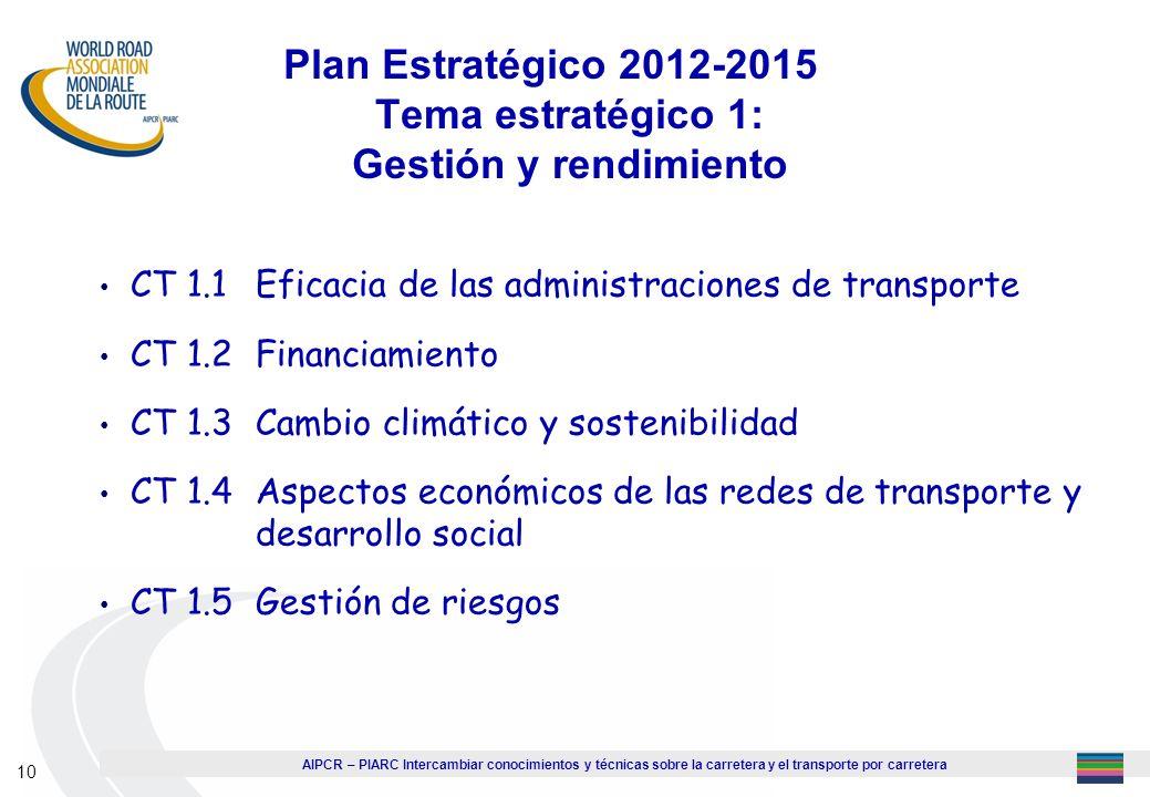 AIPCR – PIARC Intercambiar conocimientos y técnicas sobre la carretera y el transporte por carretera 10 Plan Estratégico 2012-2015 Tema estratégico 1: