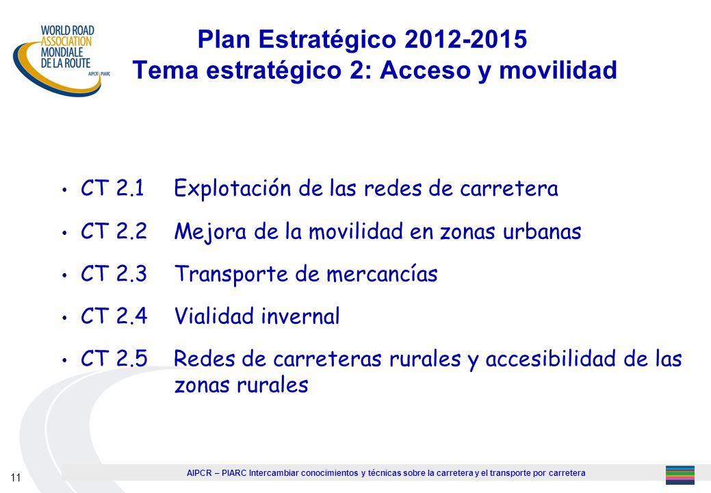 AIPCR – PIARC Intercambiar conocimientos y técnicas sobre la carretera y el transporte por carretera 11 Plan Estratégico 2012-2015 Tema estratégico 2: