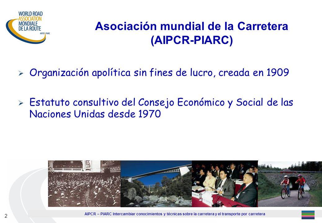 AIPCR – PIARC Intercambiar conocimientos y técnicas sobre la carretera y el transporte por carretera 2 Organización apolítica sin fines de lucro, crea