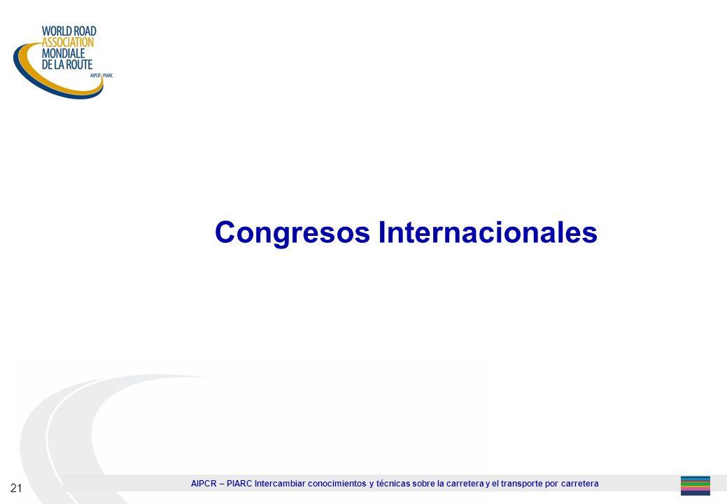 AIPCR – PIARC Intercambiar conocimientos y técnicas sobre la carretera y el transporte por carretera 21 Congresos Internacionales