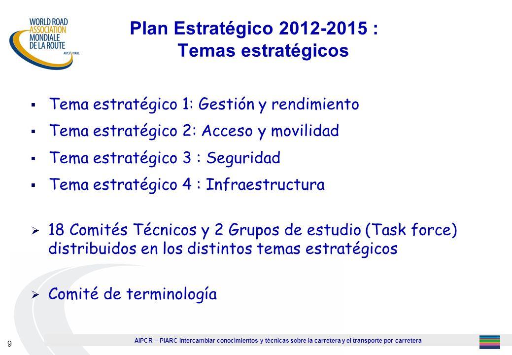 AIPCR – PIARC Intercambiar conocimientos y técnicas sobre la carretera y el transporte por carretera 9 Plan Estratégico 2012-2015 : Temas estratégicos