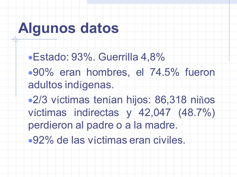 Algunos datos 5465 testimonios (60% lenguas mayas) 52427 v í ctimas de violaciones de DDHH y DIH (14291 hechos). De ellas: cerca de la mitad muertos,