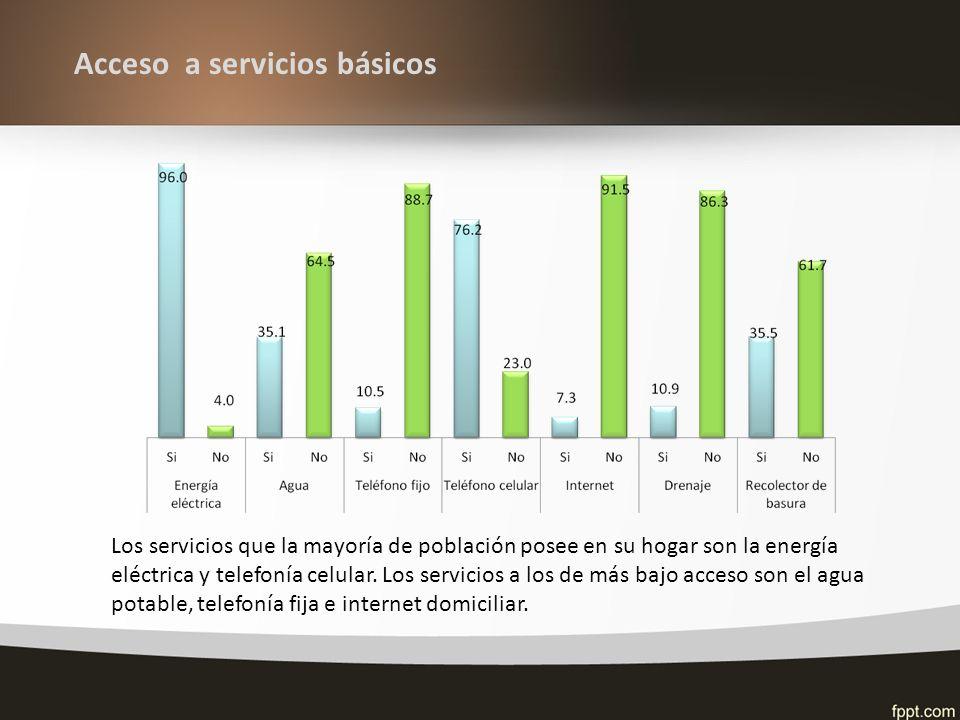 Acceso a servicios básicos Los servicios que la mayoría de población posee en su hogar son la energía eléctrica y telefonía celular.