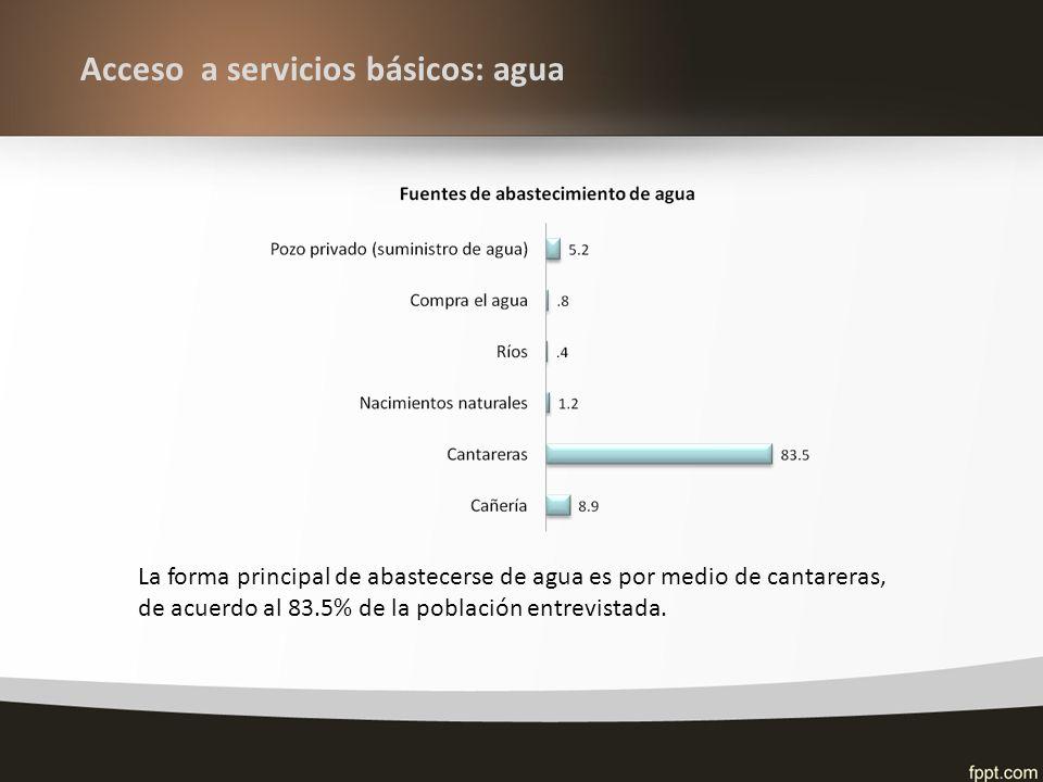Acceso a servicios básicos: agua La forma principal de abastecerse de agua es por medio de cantareras, de acuerdo al 83.5% de la población entrevistada.