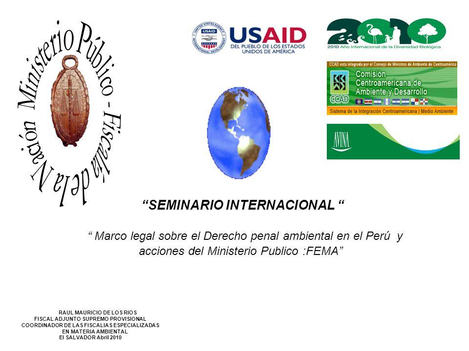 SEMINARIO INTERNACIONAL Marco legal sobre el Derecho penal ambiental en el Perú y acciones del Ministerio Publico :FEMA RAUL MAURICIO DE LOS RIOS FISC