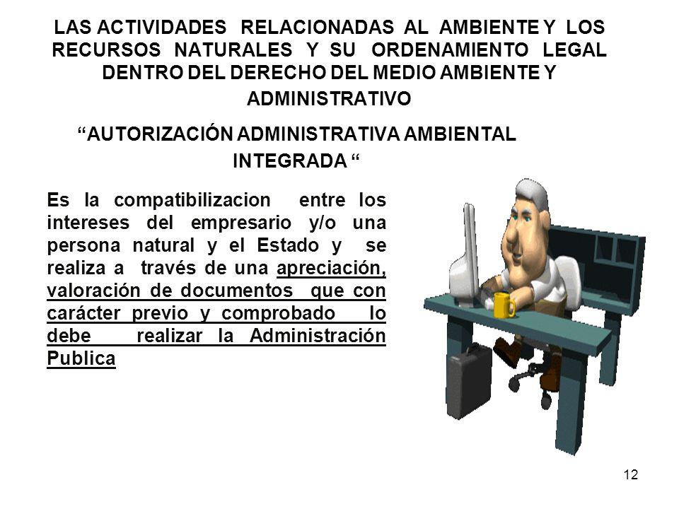 12 LAS ACTIVIDADES RELACIONADAS AL AMBIENTE Y LOS RECURSOS NATURALES Y SU ORDENAMIENTO LEGAL DENTRO DEL DERECHO DEL MEDIO AMBIENTE Y ADMINISTRATIVO AU