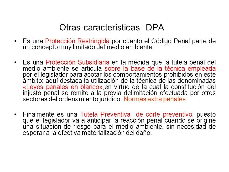 Otras características DPA Es una Protección Restringida por cuanto el Código Penal parte de un concepto muy limitado del medio ambiente Es una Protecc