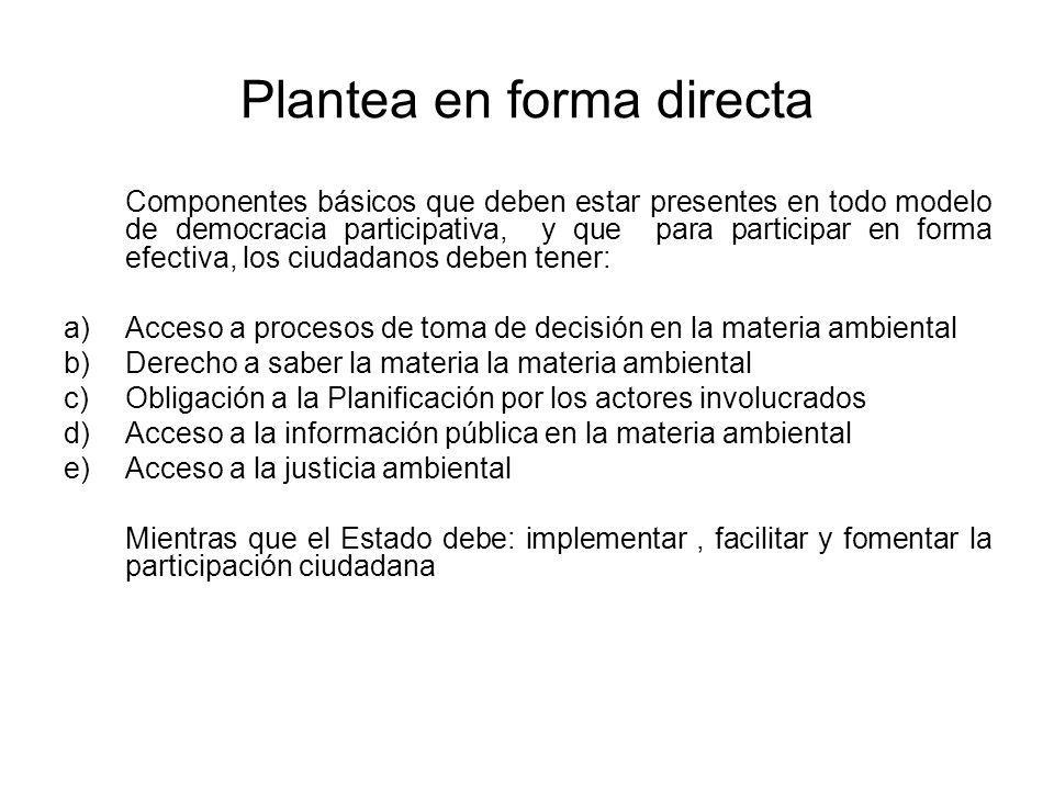 Plantea en forma directa Componentes básicos que deben estar presentes en todo modelo de democracia participativa, y que para participar en forma efec