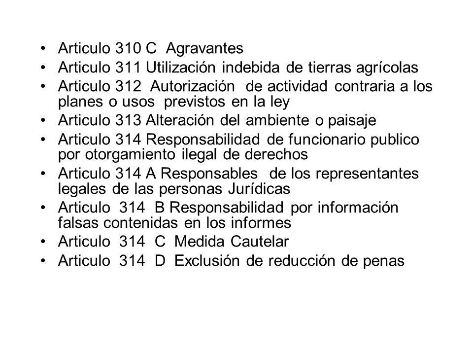 Articulo 310 C Agravantes Articulo 311 Utilización indebida de tierras agrícolas Articulo 312 Autorización de actividad contraria a los planes o usos