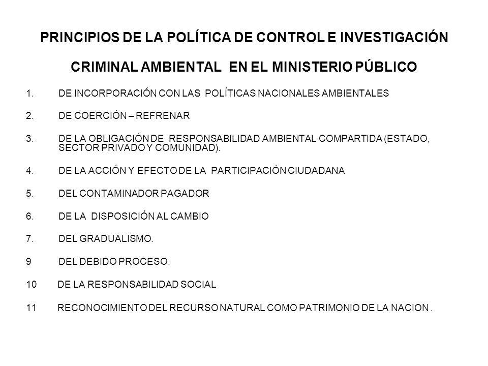 PRINCIPIOS DE LA POLÍTICA DE CONTROL E INVESTIGACIÓN CRIMINAL AMBIENTAL EN EL MINISTERIO PÚBLICO 1.DE INCORPORACIÓN CON LAS POLÍTICAS NACIONALES AMBIE