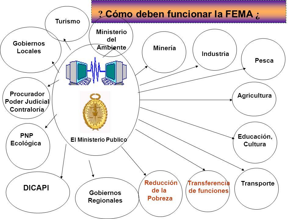 El Ministerio Publico Reducción de la Pobreza ? Cómo deben funcionar la FEMA ¿ DICAPI Educación, Cultura Transporte Transferencia de funciones Pesca A