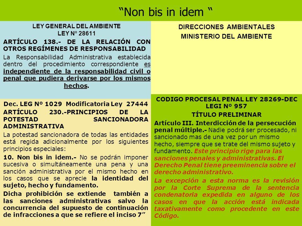 Non bis in idem LEY GENERAL DEL AMBIENTE LEY Nº 28611 ARTÍCULO 138.- DE LA RELACIÓN CON OTROS REGÍMENES DE RESPONSABILIDAD La Responsabilidad Administ