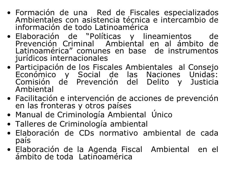 Formación de una Red de Fiscales especializados Ambientales con asistencia técnica e intercambio de información de todo Latinoamérica Elaboración de P