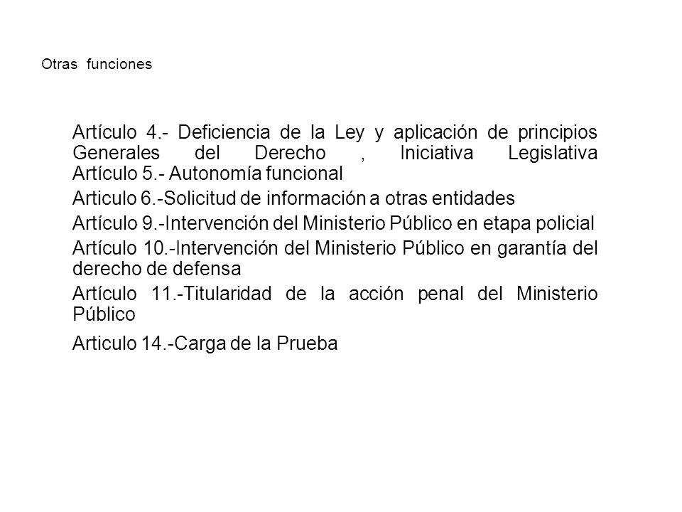 Otras funciones Artículo 4.- Deficiencia de la Ley y aplicación de principios Generales del Derecho, Iniciativa Legislativa Artículo 5.- Autonomía fun