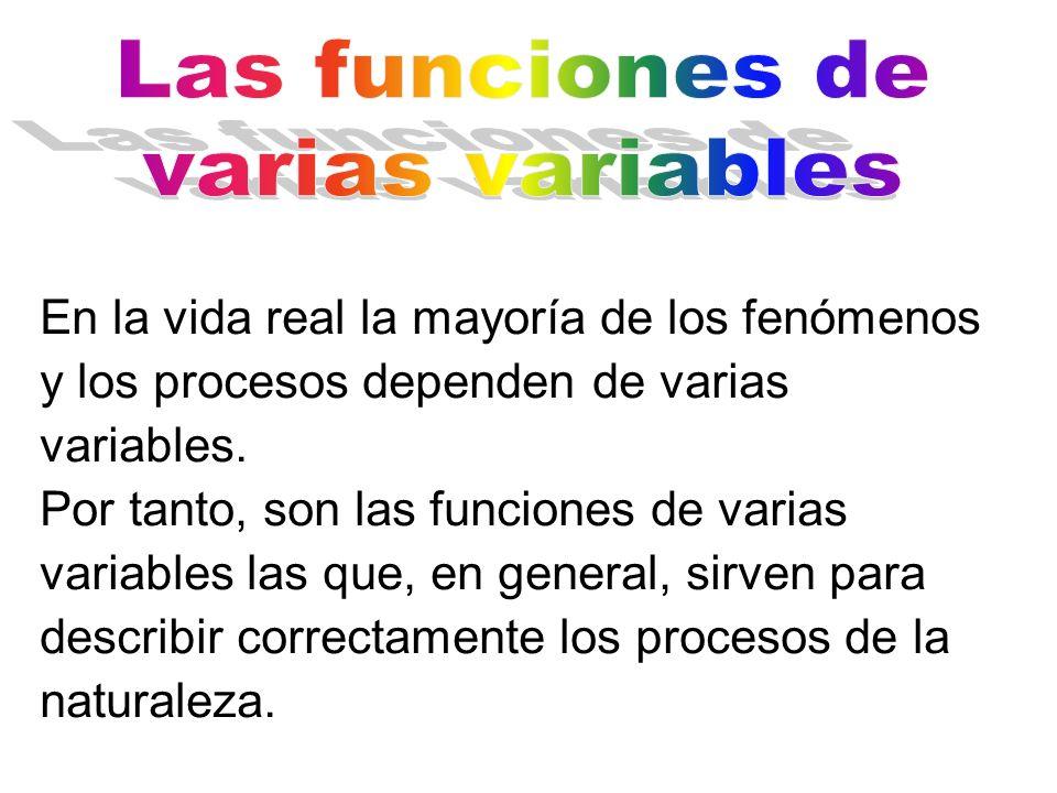 En la vida real la mayoría de los fenómenos y los procesos dependen de varias variables. Por tanto, son las funciones de varias variables las que, en
