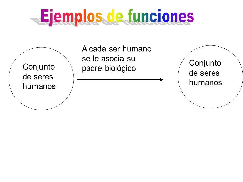 A cada ser humano se le asocia su padre biológico Conjunto de seres humanos
