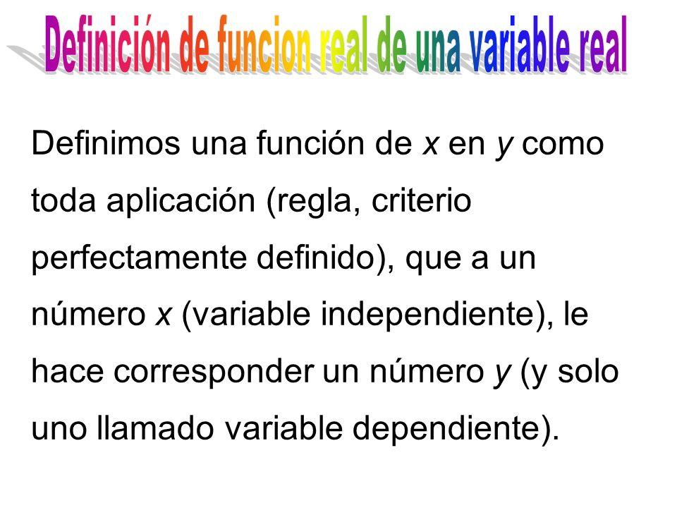 Definimos una función de x en y como toda aplicación (regla, criterio perfectamente definido), que a un número x (variable independiente), le hace cor
