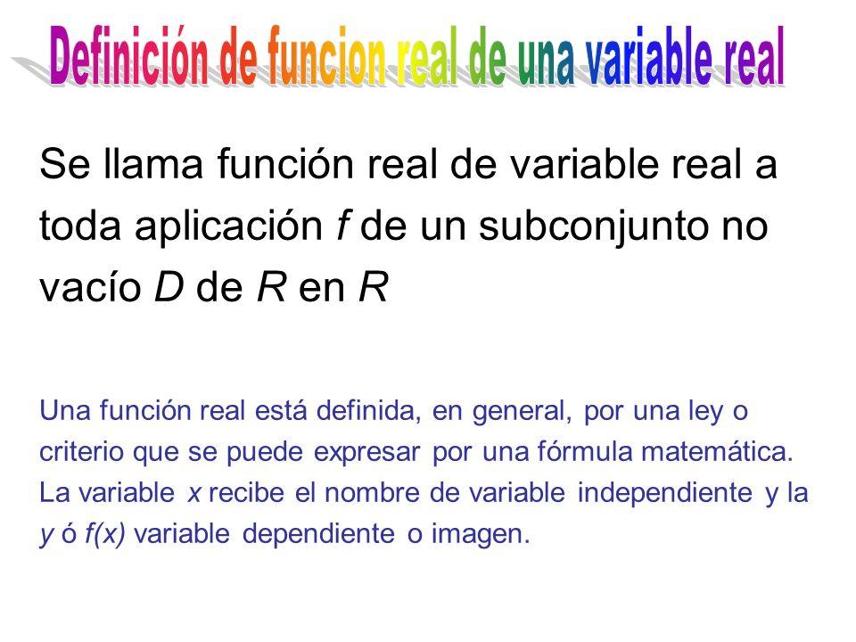 Se llama función real de variable real a toda aplicación f de un subconjunto no vacío D de R en R Una función real está definida, en general, por una