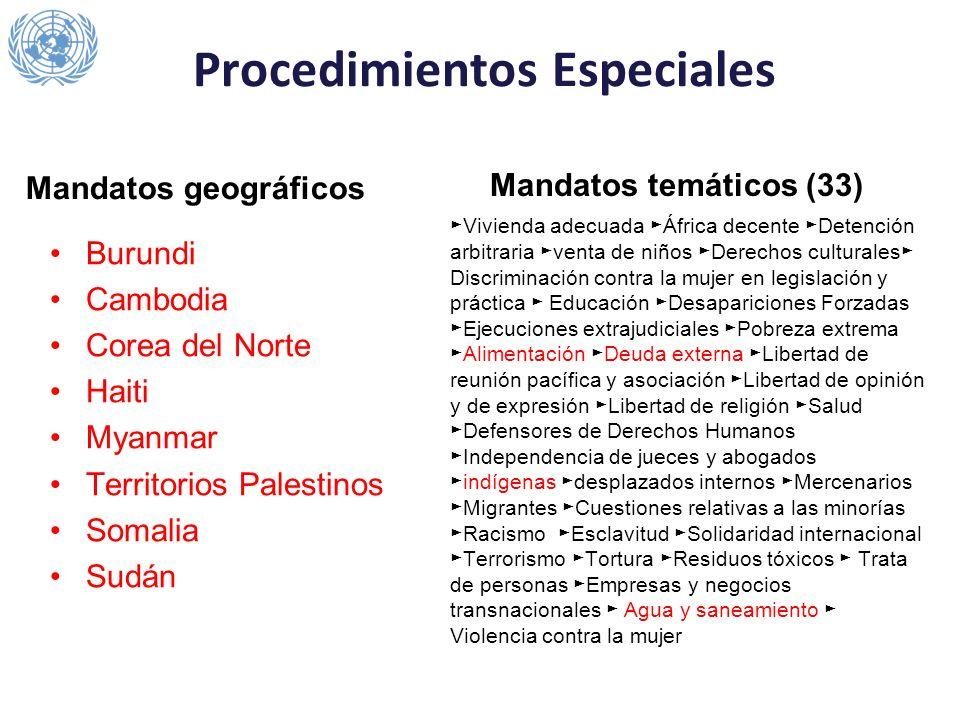 Procedimientos Especiales Mandatos geográficos Burundi Cambodia Corea del Norte Haiti Myanmar Territorios Palestinos Somalia Sudán Mandatos temáticos