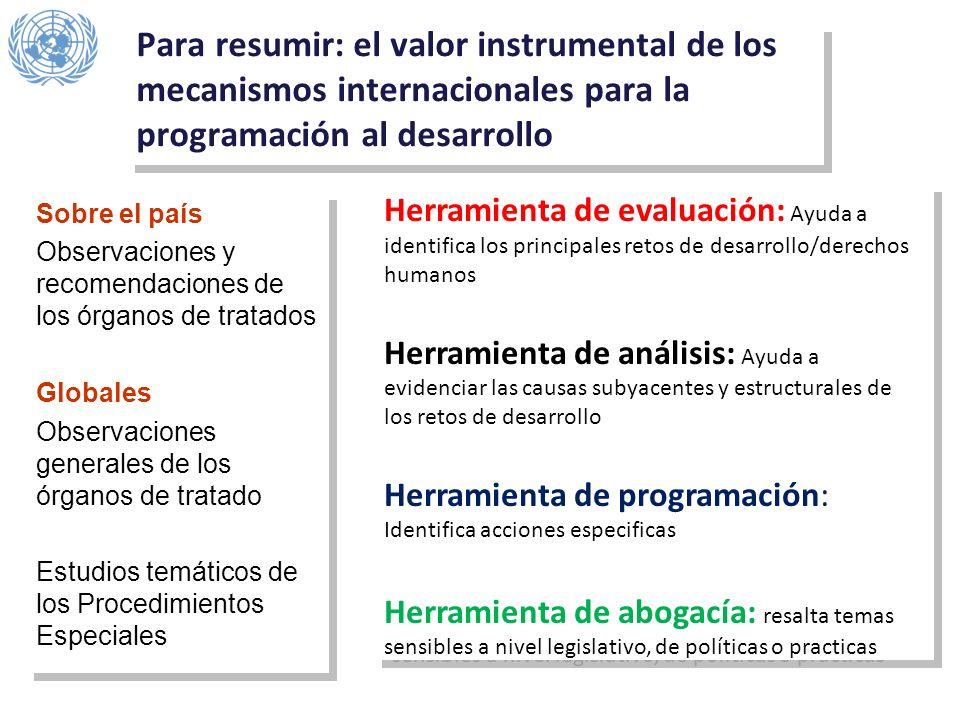 Para resumir: el valor instrumental de los mecanismos internacionales para la programación al desarrollo Sobre el país Observaciones y recomendaciones
