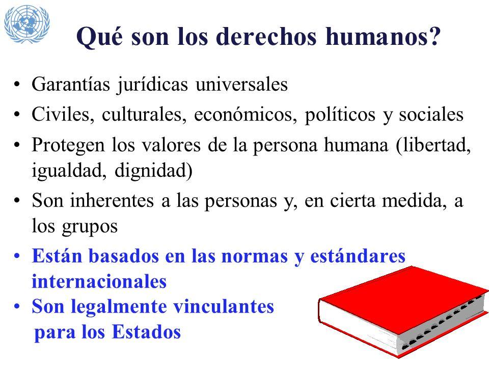 Qué son los derechos humanos? Garantías jurídicas universales Civiles, culturales, económicos, políticos y sociales Protegen los valores de la persona