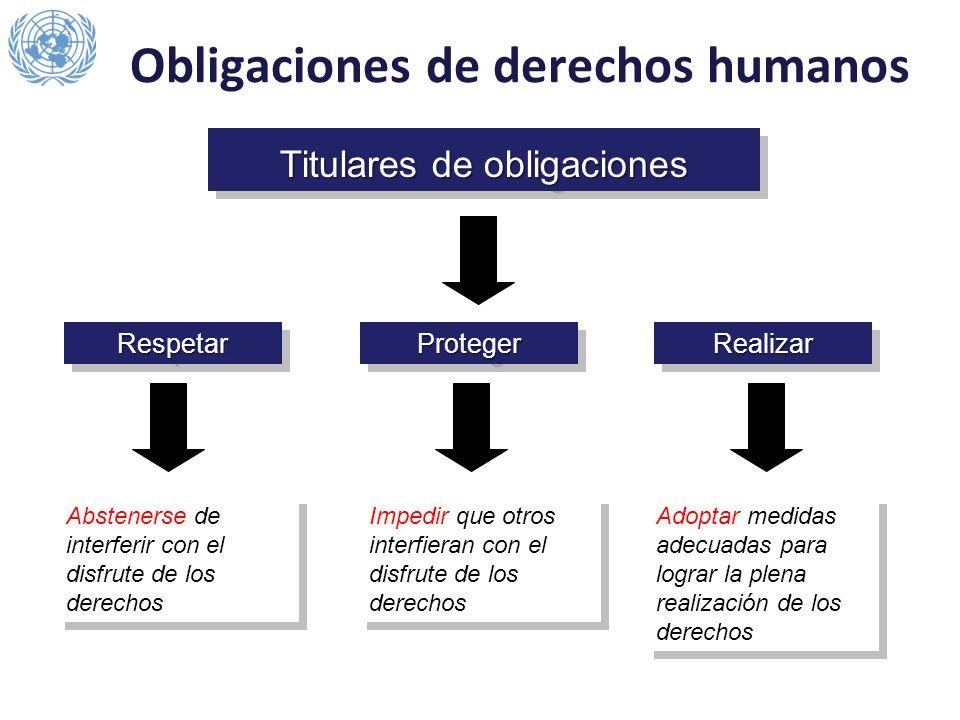 Titulares de obligaciones RespetarRespetarProtegerProtegerRealizarRealizar Impedir que otros interfieran con el disfrute de los derechos Abstenerse de