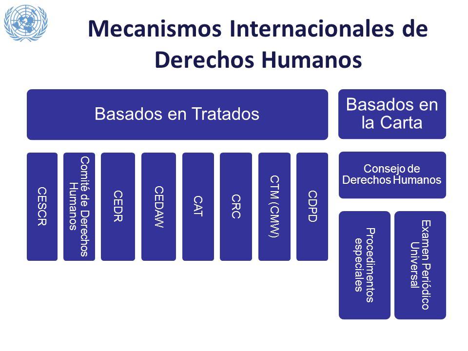 Mecanismos Internacionales de Derechos Humanos Basados en Tratados CESCR Comité de Derechos Humanos CEDR CEDAW CAT CRC CTM (CMW) CDPD Basados en la Ca