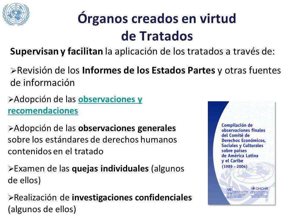 Órganos creados en virtud de Tratados Supervisan y facilitan la aplicación de los tratados a través de: Revisión de los Informes de los Estados Partes