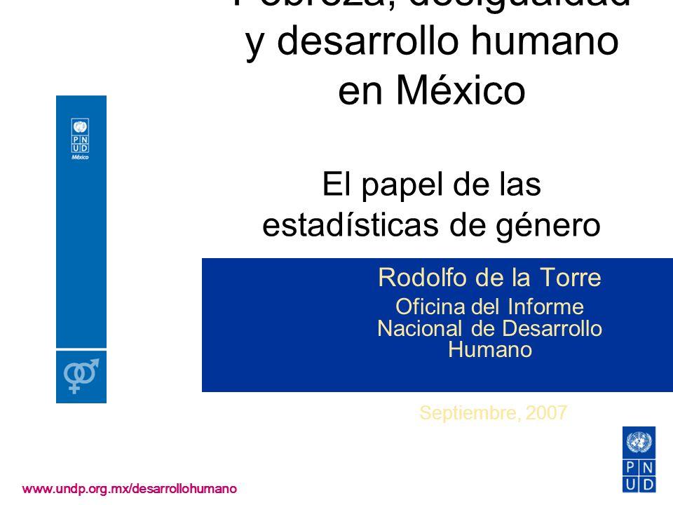 Pobreza, desigualdad y desarrollo humano en México El papel de las estadísticas de género www.undp.org.mx/desarrollohumano Rodolfo de la Torre Oficina