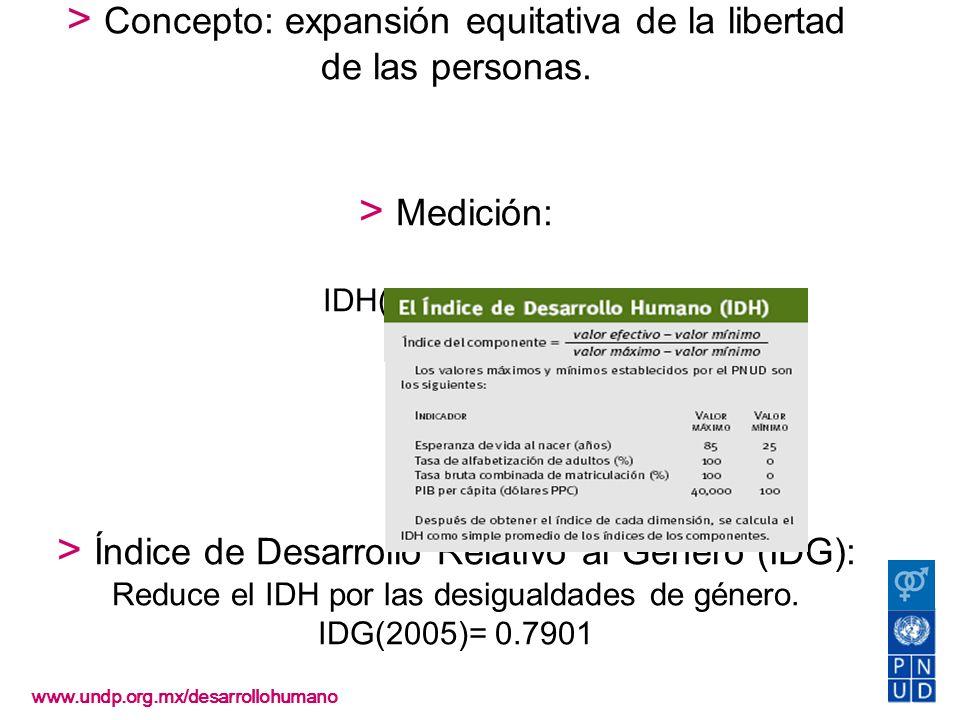 Desarrollo humano > Concepto: expansión equitativa de la libertad de las personas. > Medición: IDH(2005)=0.8079 > Índice de Desarrollo Relativo al Gén