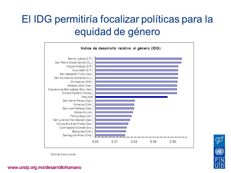 www.undp.org.mx/desarrollohumano El IDG permitiría focalizar políticas para la equidad de género