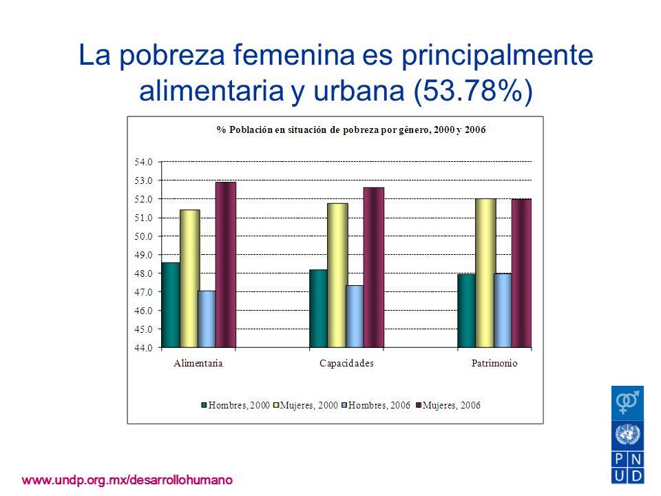 www.undp.org.mx/desarrollohumano La pobreza femenina es principalmente alimentaria y urbana (53.78%)