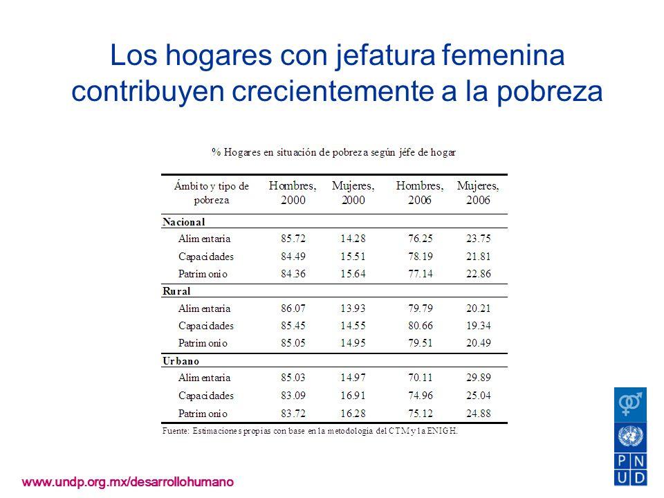 www.undp.org.mx/desarrollohumano Los hogares con jefatura femenina contribuyen crecientemente a la pobreza
