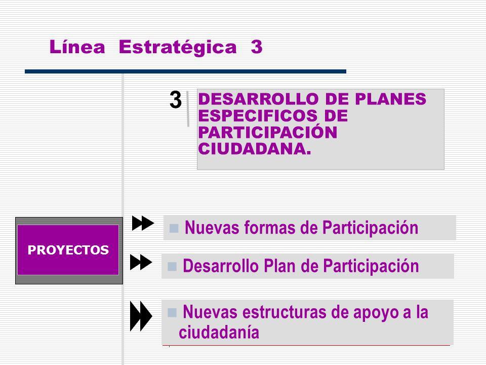 12 3 DESARROLLO DE PLANESESPECIFICOS DEPARTICIPACIÓNCIUDADANA. Línea Estratégica 3 PROYECTOS Nuevas formas de Participación Desarrollo Plan de Partici