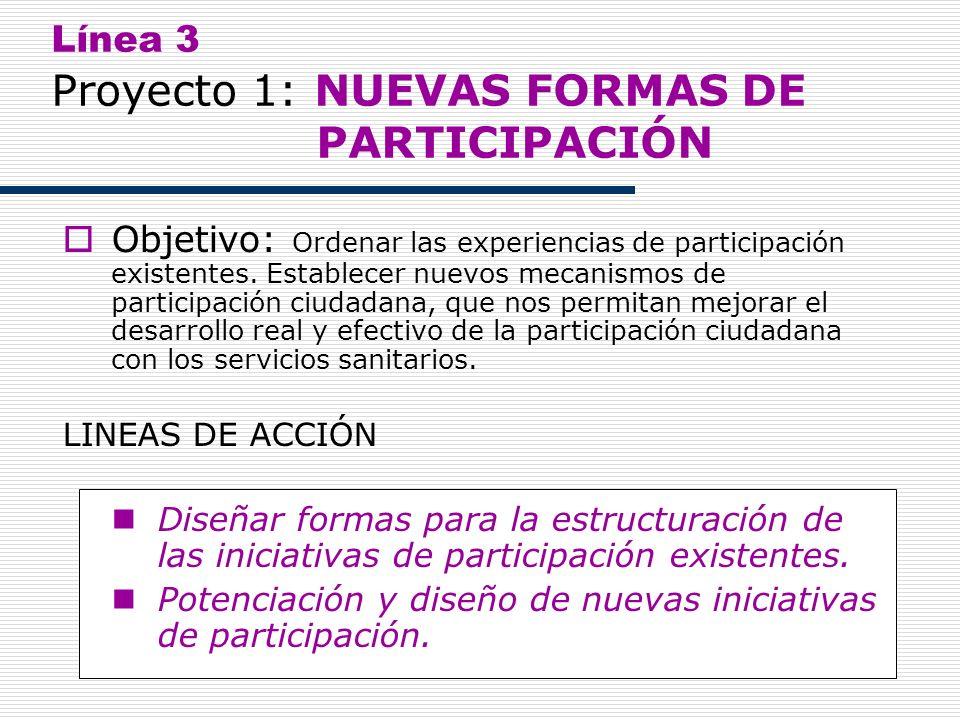 13 Línea 3 Proyecto 1: NUEVAS FORMAS DE PARTICIPACIÓN Objetivo: Ordenar las experiencias de participación existentes. Establecer nuevos mecanismos de