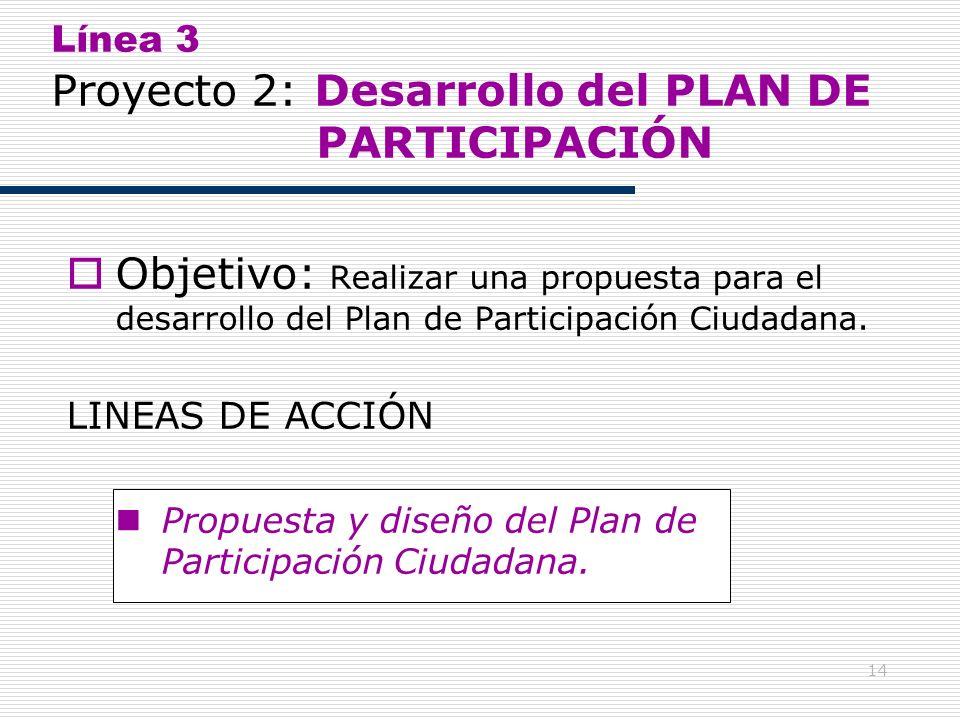 14 Línea 3 Proyecto 2: Desarrollo del PLAN DE PARTICIPACIÓN Objetivo: Realizar una propuesta para el desarrollo del Plan de Participación Ciudadana. L