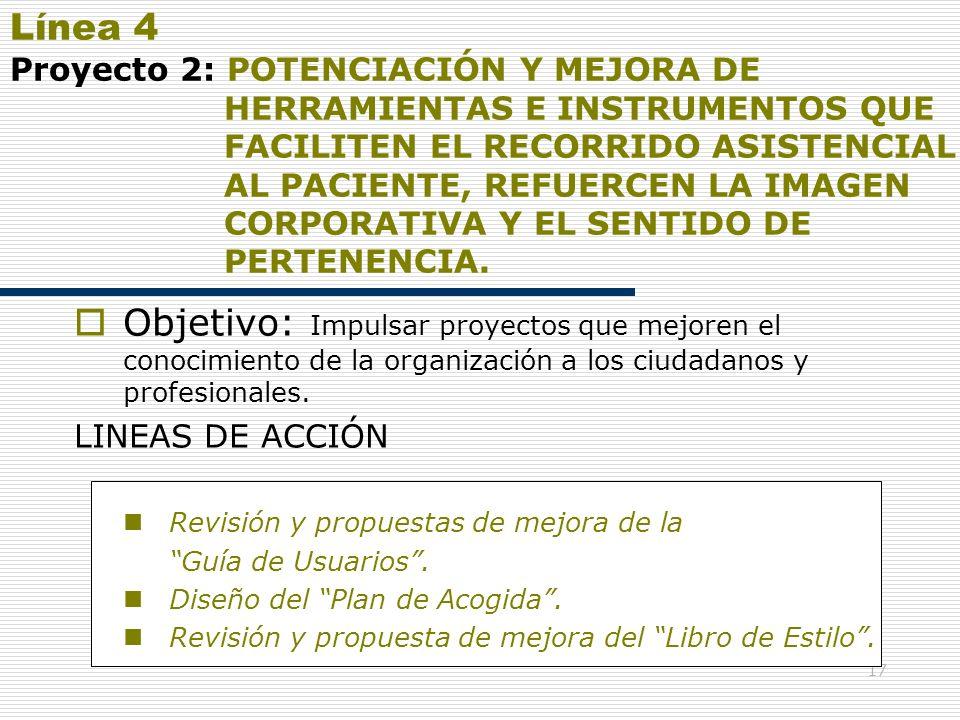 17 Línea 4 Proyecto 2: POTENCIACIÓN Y MEJORA DE HERRAMIENTAS E INSTRUMENTOS QUE FACILITEN EL RECORRIDO ASISTENCIAL AL PACIENTE, REFUERCEN LA IMAGEN CO