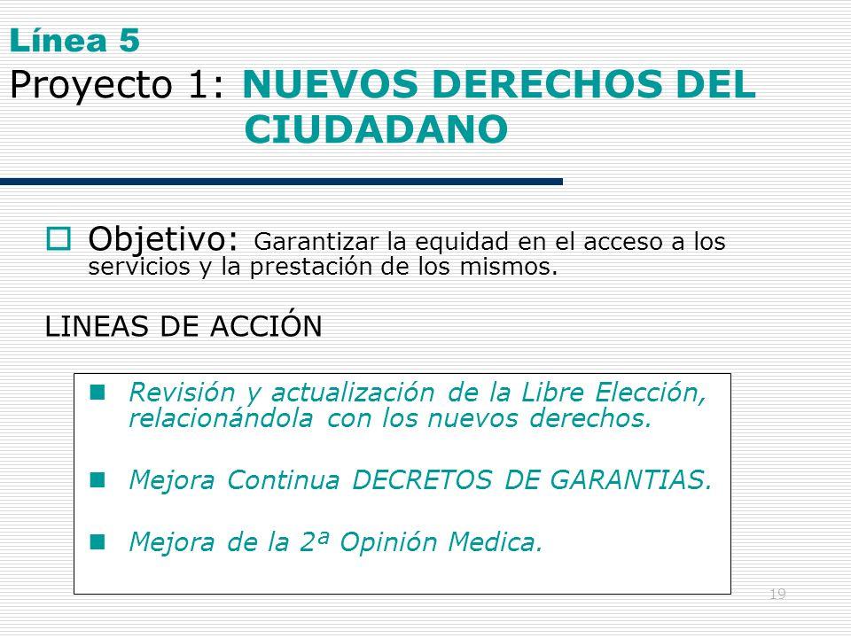19 Línea 5 Proyecto 1: NUEVOS DERECHOS DEL CIUDADANO Objetivo: Garantizar la equidad en el acceso a los servicios y la prestación de los mismos. LINEA