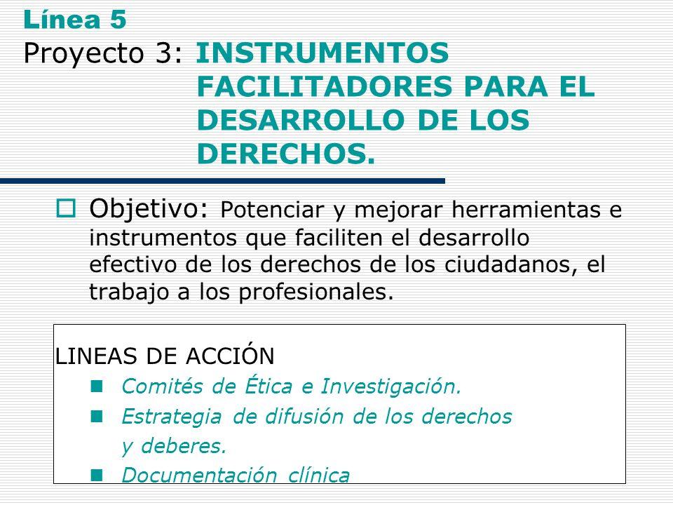 21 Línea 5 Proyecto 3: INSTRUMENTOS FACILITADORES PARA EL DESARROLLO DE LOS DERECHOS. Objetivo: Potenciar y mejorar herramientas e instrumentos que fa