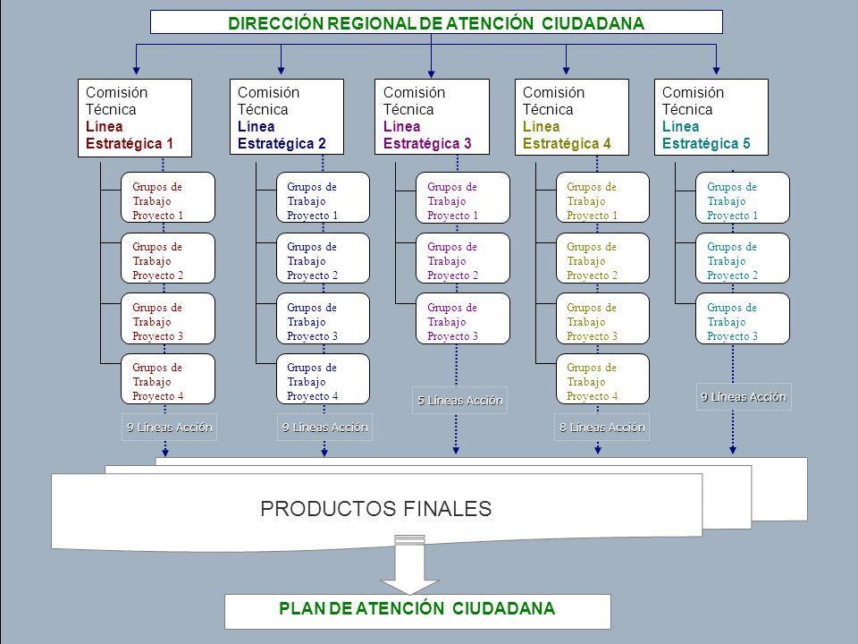 24 PRODUCTOS FINALES Comisión Técnica Línea Estratégica 1 PLAN DE ATENCIÓN CIUDADANA Grupos de Trabajo Proyecto 1 Grupos de Trabajo Proyecto 2 Grupos