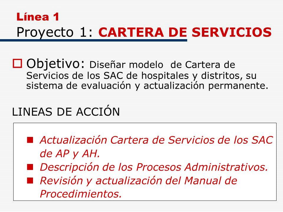 5 Línea 1 Proyecto 1: CARTERA DE SERVICIOS Objetivo: Diseñar modelo de Cartera de Servicios de los SAC de hospitales y distritos, su sistema de evalua