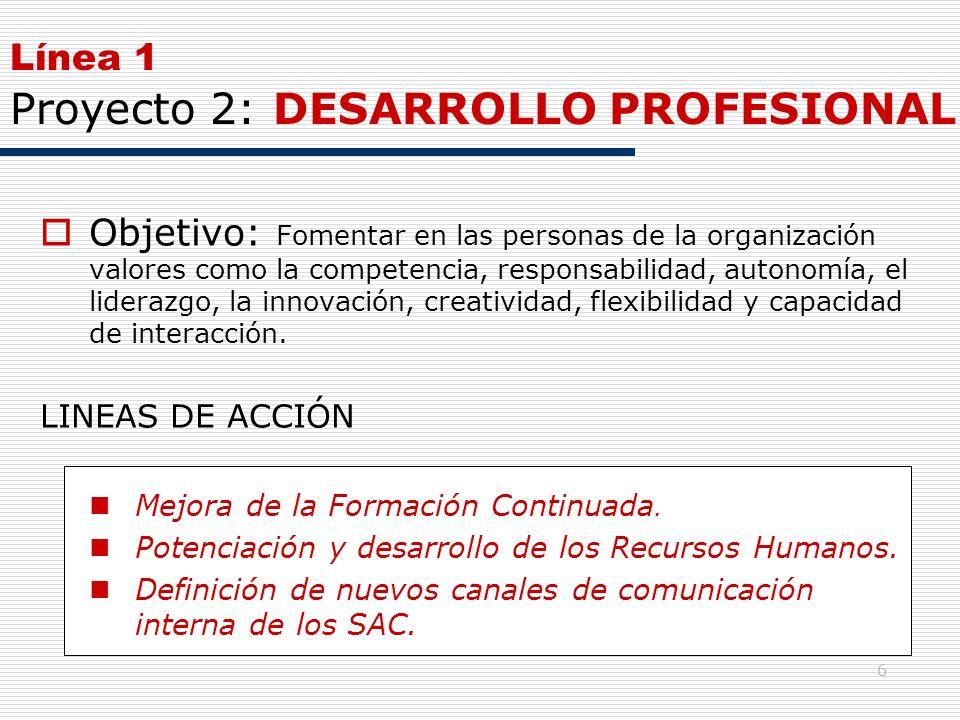 6 Línea 1 Proyecto 2: DESARROLLO PROFESIONAL Objetivo: Fomentar en las personas de la organización valores como la competencia, responsabilidad, auton