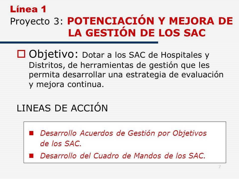 7 Línea 1 Proyecto 3: POTENCIACIÓN Y MEJORA DE LA GESTIÓN DE LOS SAC Objetivo: Dotar a los SAC de Hospitales y Distritos, de herramientas de gestión q